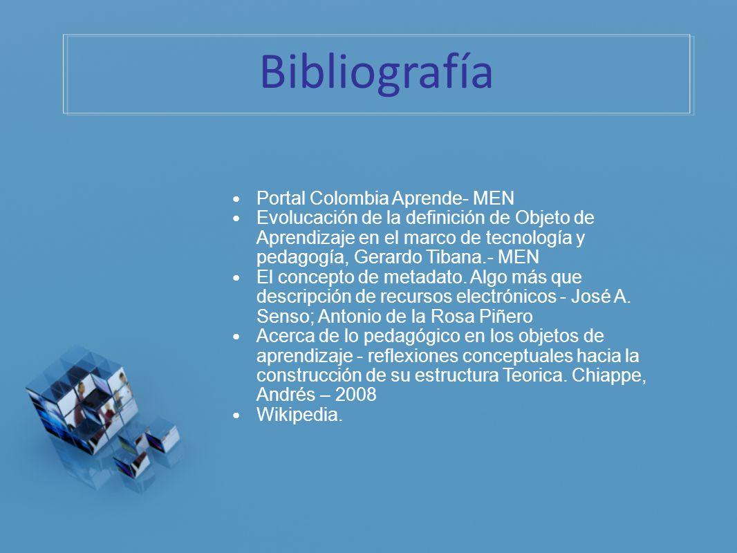 Bibliografía Portal Colombia Aprende- MEN Evolucación de la definición de Objeto de Aprendizaje en el marco de tecnología y pedagogía, Gerardo Tibana.