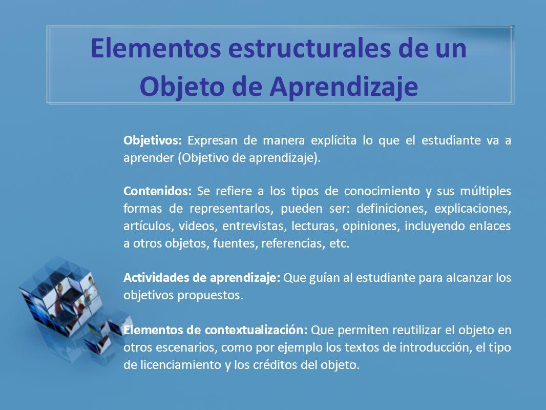 Elementos estructurales de un Objeto de Aprendizaje Objetivos: Expresan de manera explícita lo que el estudiante va a aprender (Objetivo de aprendizaj