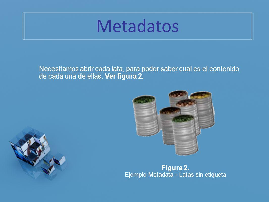 Necesitamos abrir cada lata, para poder saber cual es el contenido de cada una de ellas. Ver figura 2. Figura 2. Ejemplo Metadata - Latas sin etiqueta