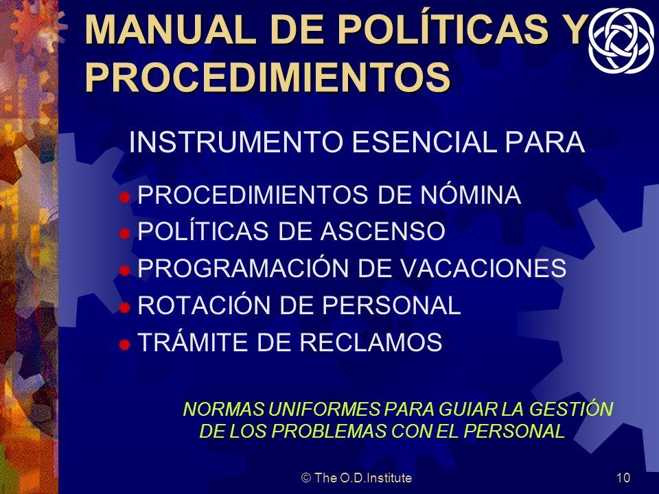 © The O.D.Institute10 MANUAL DE POLÍTICAS Y PROCEDIMIENTOS INSTRUMENTO ESENCIAL PARA PROCEDIMIENTOS DE NÓMINA POLÍTICAS DE ASCENSO PROGRAMACIÓN DE VACACIONES ROTACIÓN DE PERSONAL TRÁMITE DE RECLAMOS NORMAS UNIFORMES PARA GUIAR LA GESTIÓN DE LOS PROBLEMAS CON EL PERSONAL