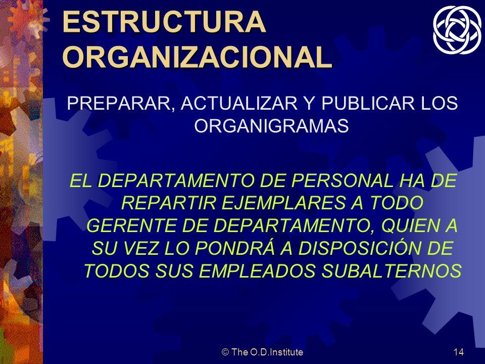 © The O.D.Institute14 ESTRUCTURA ORGANIZACIONAL PREPARAR, ACTUALIZAR Y PUBLICAR LOS ORGANIGRAMAS EL DEPARTAMENTO DE PERSONAL HA DE REPARTIR EJEMPLARES A TODO GERENTE DE DEPARTAMENTO, QUIEN A SU VEZ LO PONDRÁ A DISPOSICIÓN DE TODOS SUS EMPLEADOS SUBALTERNOS
