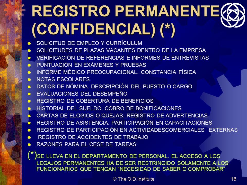 © The O.D.Institute18 REGISTRO PERMANENTE (CONFIDENCIAL) (*) SOLICITUD DE EMPLEO Y CURRÍCULUM SOLICITUDES DE PLAZAS VACANTES DENTRO DE LA EMPRESA VERIFICACIÓN DE REFERENCIAS E INFORMES DE ENTREVISTAS PUNTUACIÓN EN EXÁMENES Y PRUEBAS INFORME MÉDICO PREOCUPACIONAL.
