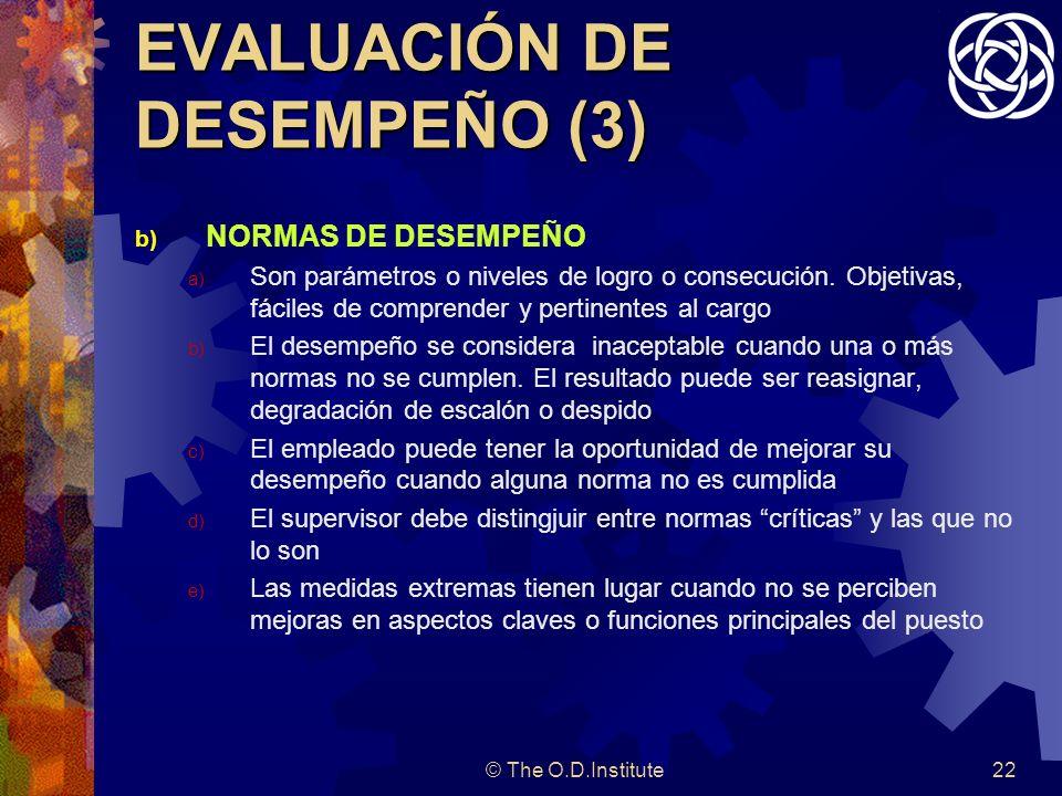 © The O.D.Institute22 EVALUACIÓN DE DESEMPEÑO (3) b) NORMAS DE DESEMPEÑO a) Son parámetros o niveles de logro o consecución.