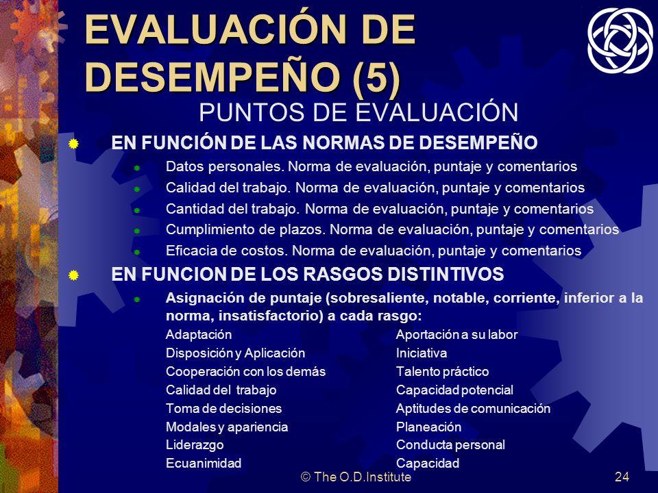 © The O.D.Institute24 EVALUACIÓN DE DESEMPEÑO (5) PUNTOS DE EVALUACIÓN EN FUNCIÓN DE LAS NORMAS DE DESEMPEÑO Datos personales.