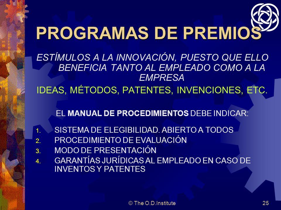 © The O.D.Institute25 PROGRAMAS DE PREMIOS ESTÍMULOS A LA INNOVACIÓN, PUESTO QUE ELLO BENEFICIA TANTO AL EMPLEADO COMO A LA EMPRESA IDEAS, MÉTODOS, PATENTES, INVENCIONES, ETC.