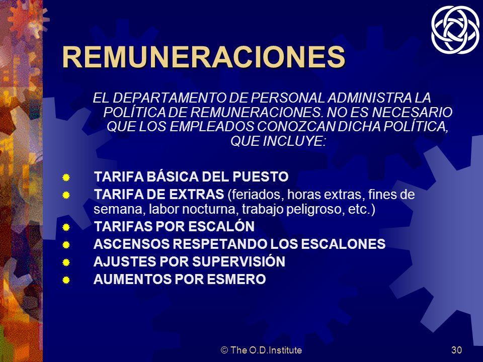 © The O.D.Institute30 REMUNERACIONES EL DEPARTAMENTO DE PERSONAL ADMINISTRA LA POLÍTICA DE REMUNERACIONES.
