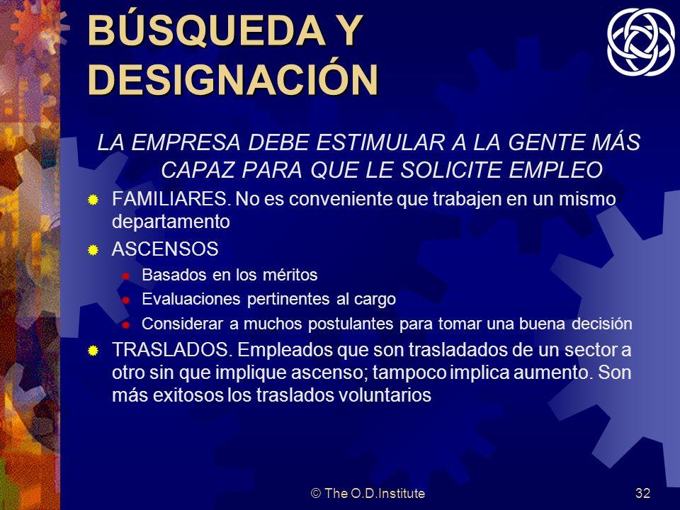 © The O.D.Institute32 BÚSQUEDA Y DESIGNACIÓN LA EMPRESA DEBE ESTIMULAR A LA GENTE MÁS CAPAZ PARA QUE LE SOLICITE EMPLEO FAMILIARES.