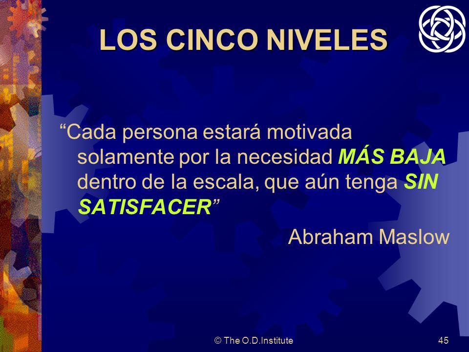 © The O.D.Institute45 LOS CINCO NIVELES Cada persona estará motivada solamente por la necesidad MÁS BAJA dentro de la escala, que aún tenga SIN SATISFACER Abraham Maslow