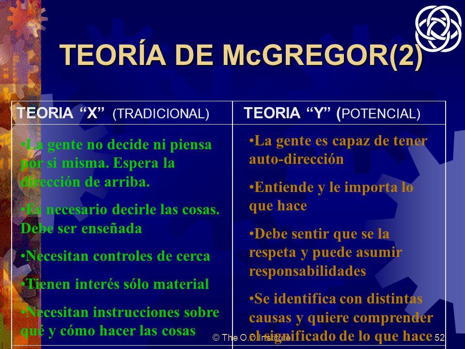 © The O.D.Institute52 TEORÍA DE McGREGOR(2) TEORIA X (TRADICIONAL) TEORIA Y ( POTENCIAL) La gente no decide ni piensa por si misma.