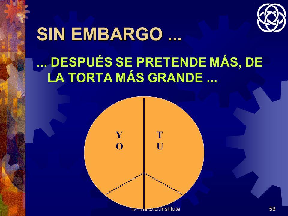 © The O.D.Institute59 SIN EMBARGO......DESPUÉS SE PRETENDE MÁS, DE LA TORTA MÁS GRANDE...