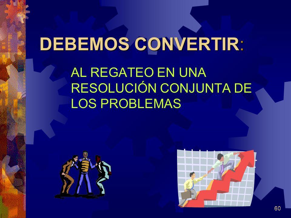 60 DEBEMOS CONVERTIR: AL REGATEO EN UNA RESOLUCIÓN CONJUNTA DE LOS PROBLEMAS