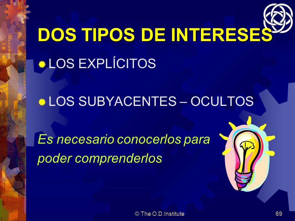 © The O.D.Institute69 DOS TIPOS DE INTERESES LOS EXPLÍCITOS LOS SUBYACENTES – OCULTOS Es necesario conocerlos para poder comprenderlos
