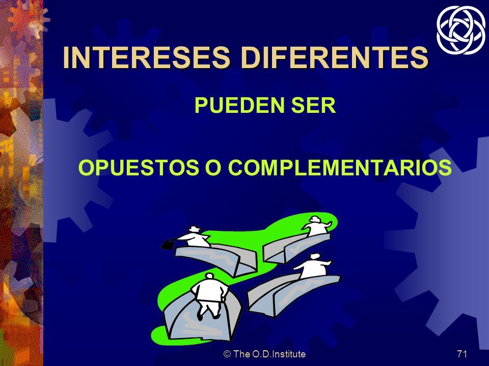 © The O.D.Institute71 INTERESES DIFERENTES PUEDEN SER OPUESTOS O COMPLEMENTARIOS