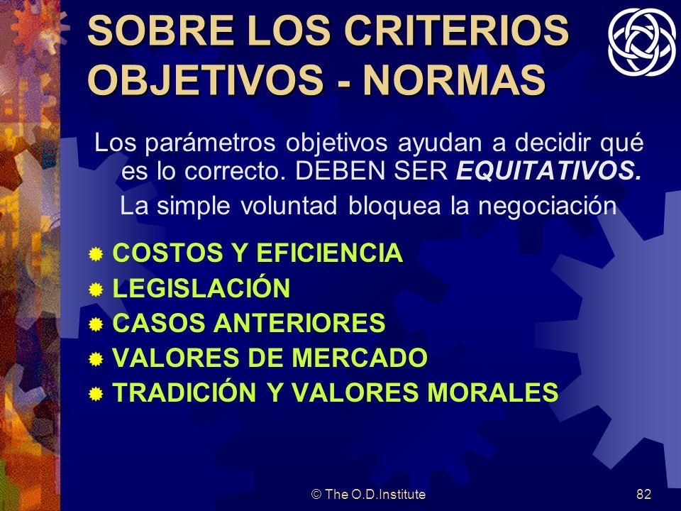 © The O.D.Institute82 SOBRE LOS CRITERIOS OBJETIVOS - NORMAS Los parámetros objetivos ayudan a decidir qué es lo correcto.