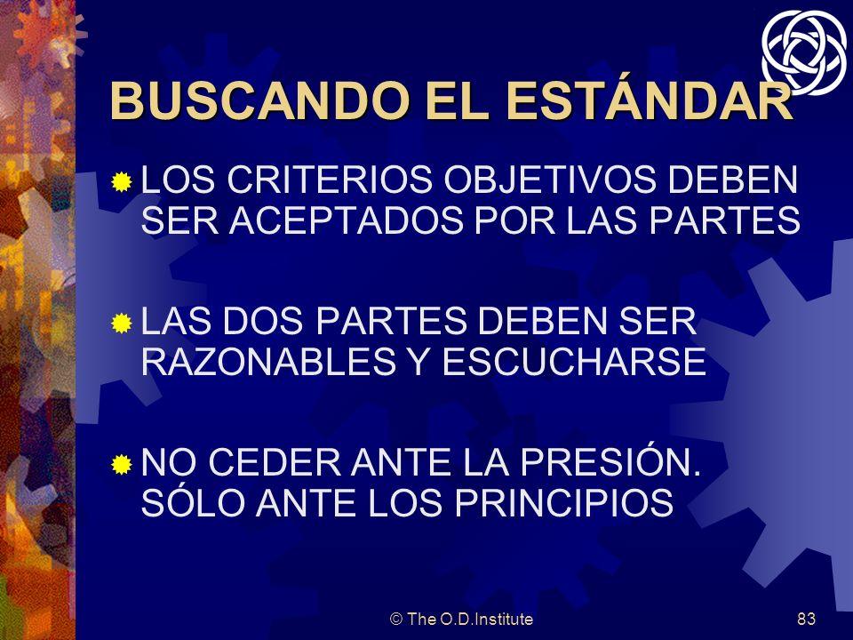 © The O.D.Institute83 BUSCANDO EL ESTÁNDAR LOS CRITERIOS OBJETIVOS DEBEN SER ACEPTADOS POR LAS PARTES LAS DOS PARTES DEBEN SER RAZONABLES Y ESCUCHARSE NO CEDER ANTE LA PRESIÓN.