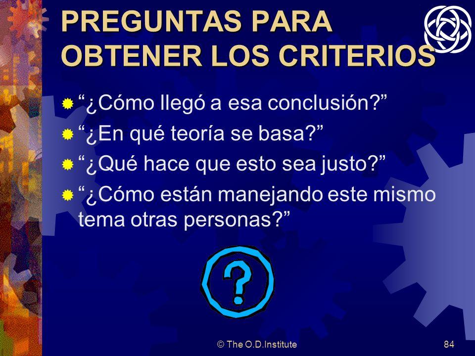 © The O.D.Institute84 PREGUNTAS PARA OBTENER LOS CRITERIOS ¿Cómo llegó a esa conclusión.