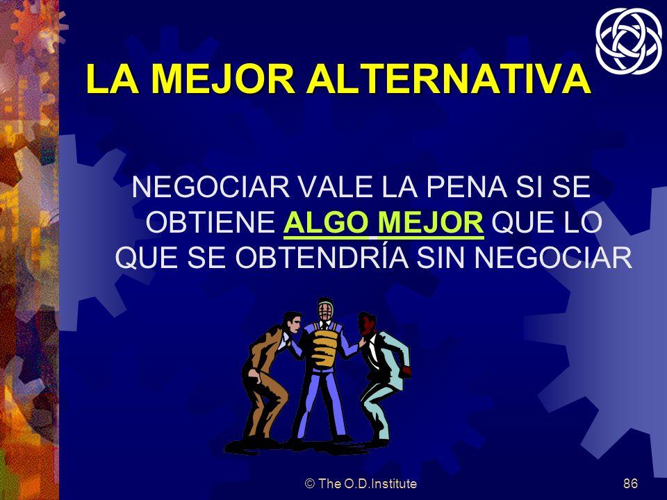 © The O.D.Institute86 LA MEJOR ALTERNATIVA NEGOCIAR VALE LA PENA SI SE OBTIENE ALGO MEJOR QUE LO QUE SE OBTENDRÍA SIN NEGOCIAR