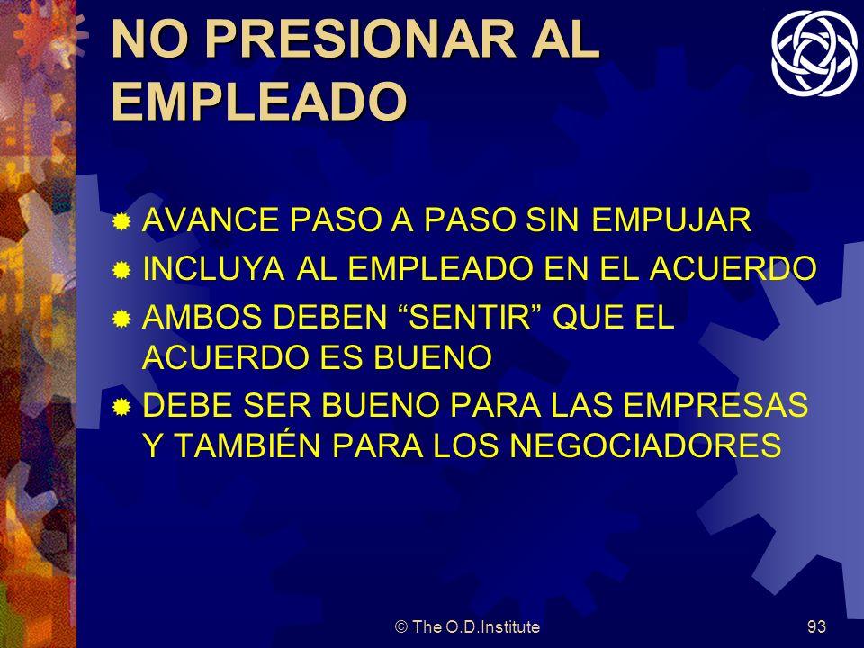 © The O.D.Institute93 NO PRESIONAR AL EMPLEADO AVANCE PASO A PASO SIN EMPUJAR INCLUYA AL EMPLEADO EN EL ACUERDO AMBOS DEBEN SENTIR QUE EL ACUERDO ES BUENO DEBE SER BUENO PARA LAS EMPRESAS Y TAMBIÉN PARA LOS NEGOCIADORES