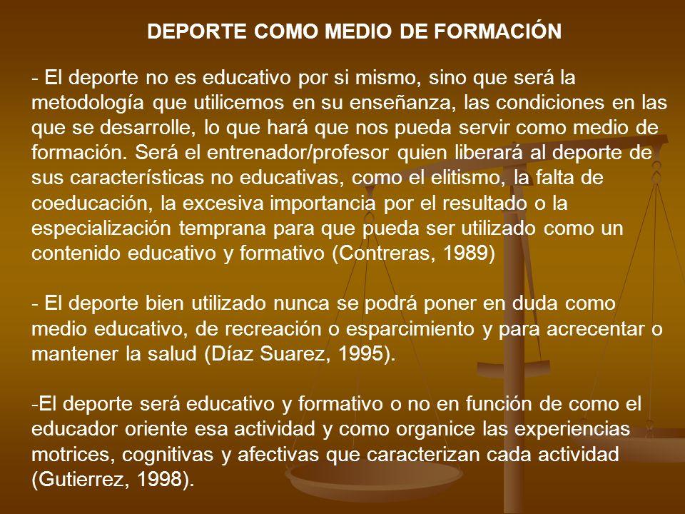 DEPORTE COMO MEDIO DE FORMACIÓN - El deporte no es educativo por si mismo, sino que será la metodología que utilicemos en su enseñanza, las condicione