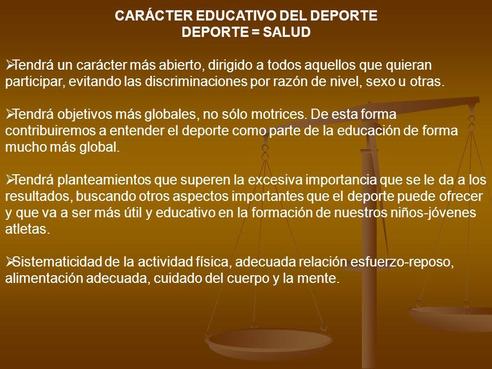 CARÁCTER EDUCATIVO DEL DEPORTE DEPORTE = SALUD Tendrá un carácter más abierto, dirigido a todos aquellos que quieran participar, evitando las discrimi
