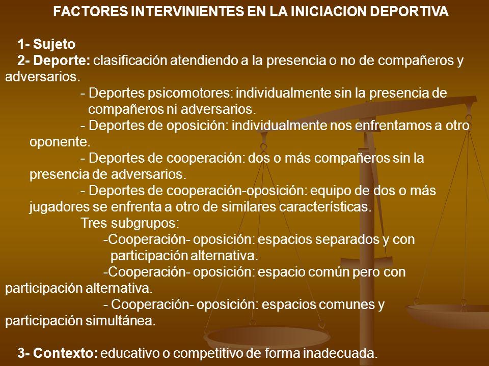 FACTORES INTERVINIENTES EN LA INICIACION DEPORTIVA 1- Sujeto 2- Deporte: clasificación atendiendo a la presencia o no de compañeros y adversarios. - D