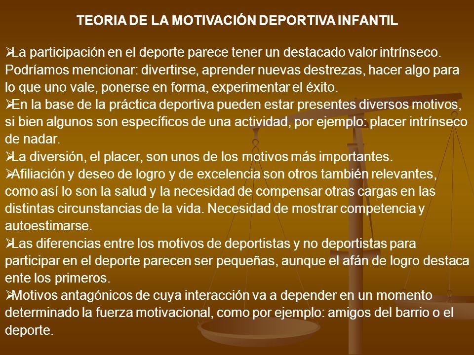 TEORIA DE LA MOTIVACIÓN DEPORTIVA INFANTIL La participación en el deporte parece tener un destacado valor intrínseco. Podríamos mencionar: divertirse,