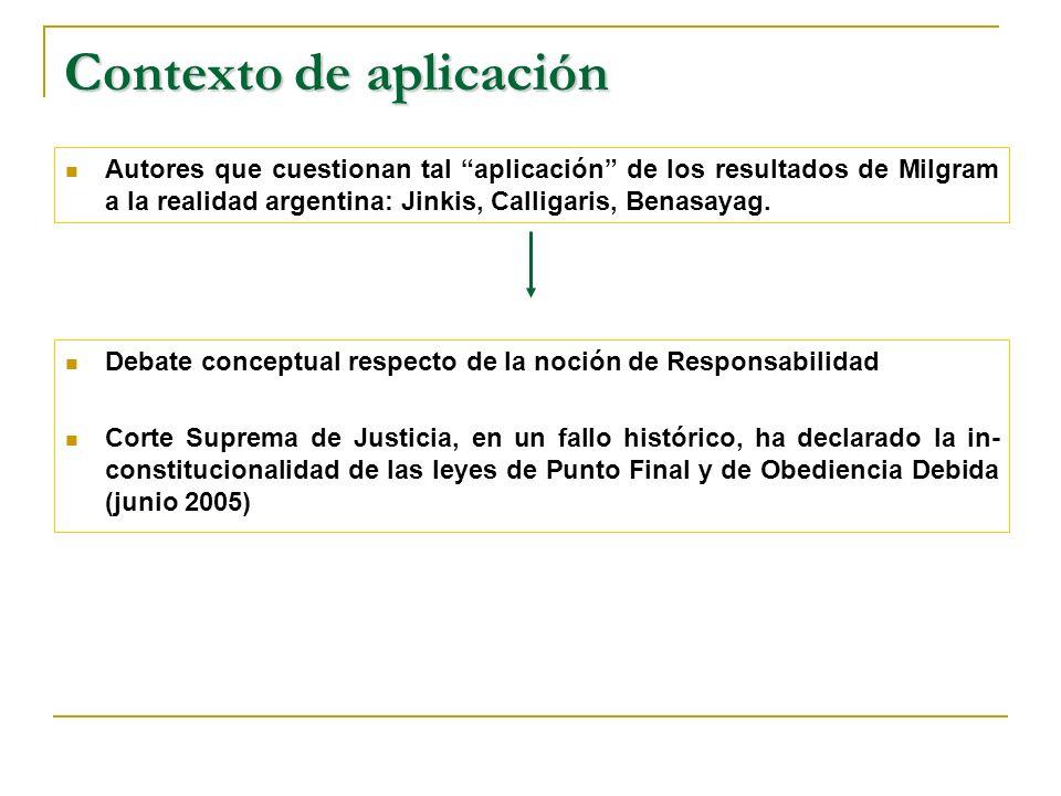 Autores que cuestionan tal aplicación de los resultados de Milgram a la realidad argentina: Jinkis, Calligaris, Benasayag.