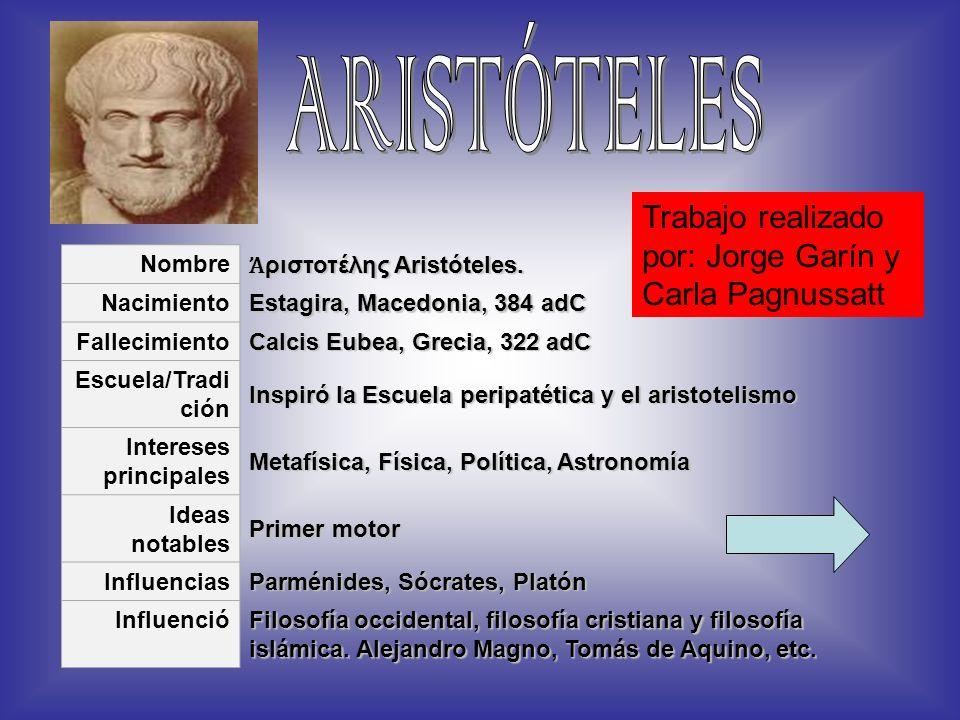 Nombre ριστοτέλης Aristóteles. ριστοτέλης Aristóteles. Nacimiento Estagira, Macedonia, 384 adC Fallecimiento Calcis Eubea, Grecia, 322 adC Escuela/Tra