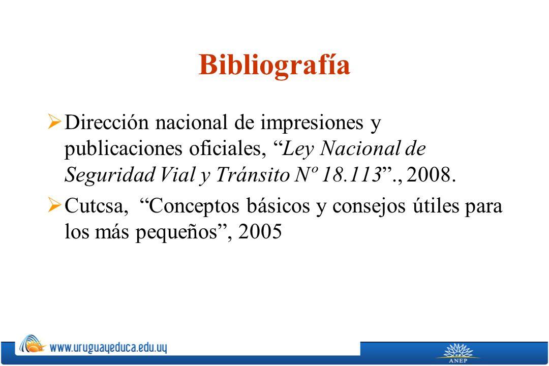 Bibliografía Dirección nacional de impresiones y publicaciones oficiales, Ley Nacional de Seguridad Vial y Tránsito Nº 18.113., 2008.