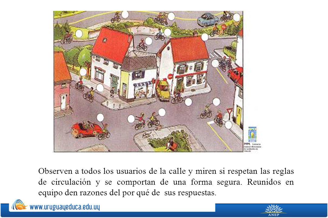 Observen a todos los usuarios de la calle y miren si respetan las reglas de circulación y se comportan de una forma segura.
