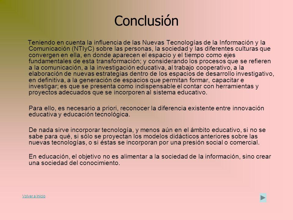 Conclusión Teniendo en cuenta la influencia de las Nuevas Tecnologías de la Información y la Comunicación (NTIyC) sobre las personas, la sociedad y la
