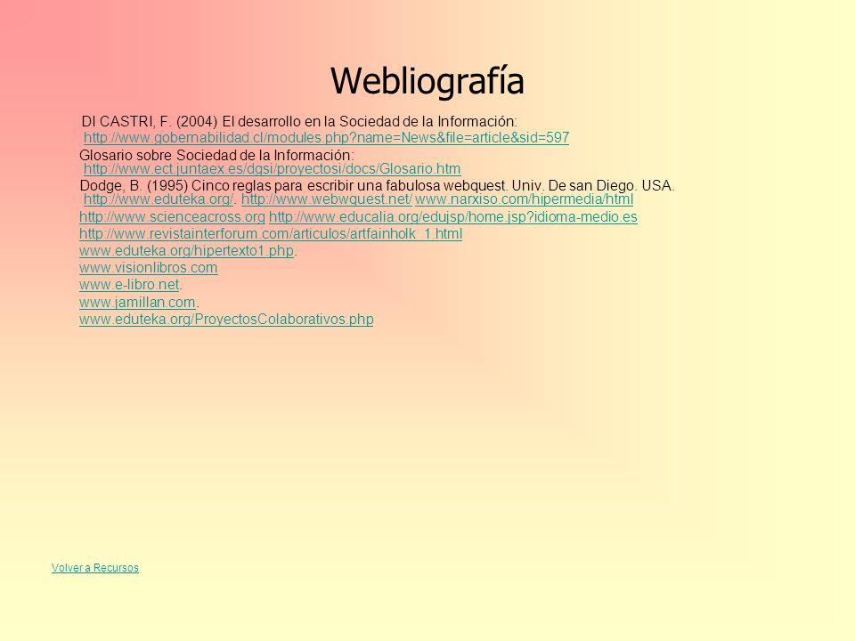 Webliografía DI CASTRI, F. (2004) El desarrollo en la Sociedad de la Información: http://www.gobernabilidad.cl/modules.php?name=News&file=article&sid=