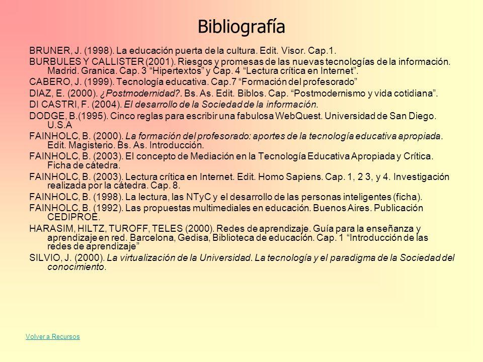 Bibliografía BRUNER, J. (1998). La educación puerta de la cultura. Edit. Visor. Cap.1. BURBULES Y CALLISTER (2001). Riesgos y promesas de las nuevas t