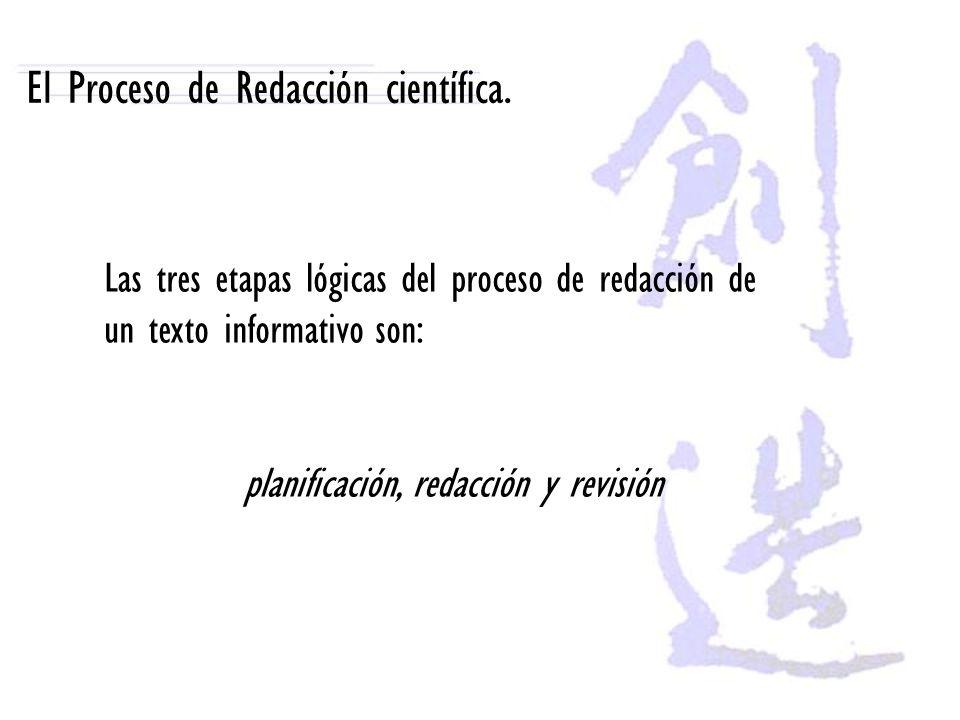 El Proceso de Redacción científica. Las tres etapas lógicas del proceso de redacción de un texto informativo son: planificación, redacción y revisión