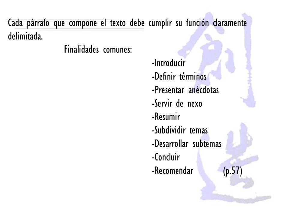 Cada párrafo que compone el texto debe cumplir su función claramente delimitada. Finalidades comunes: -Introducir -Definir términos -Presentar anécdot