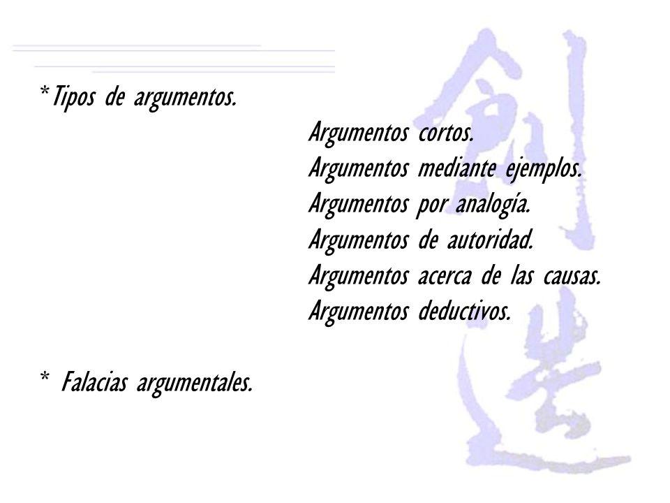 *Tipos de argumentos. Argumentos cortos. Argumentos mediante ejemplos. Argumentos por analogía. Argumentos de autoridad. Argumentos acerca de las caus