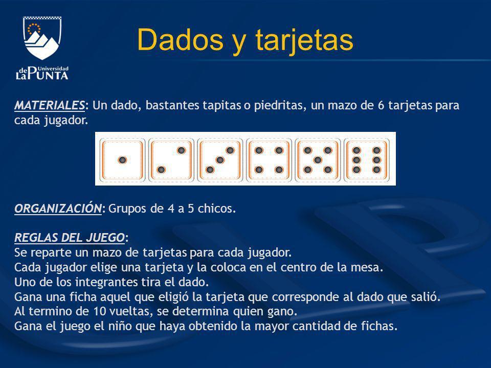 Dados y tarjetas MATERIALES: Un dado, bastantes tapitas o piedritas, un mazo de 6 tarjetas para cada jugador. ORGANIZACIÓN: Grupos de 4 a 5 chicos. RE