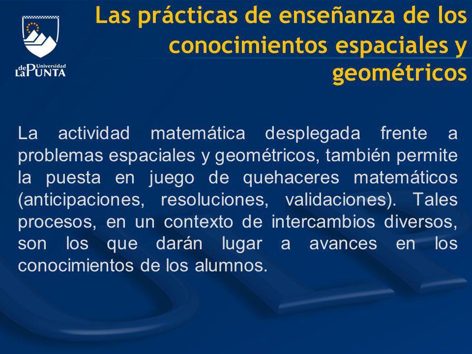 La actividad matemática desplegada frente a problemas espaciales y geométricos, también permite la puesta en juego de quehaceres matemáticos (anticipa