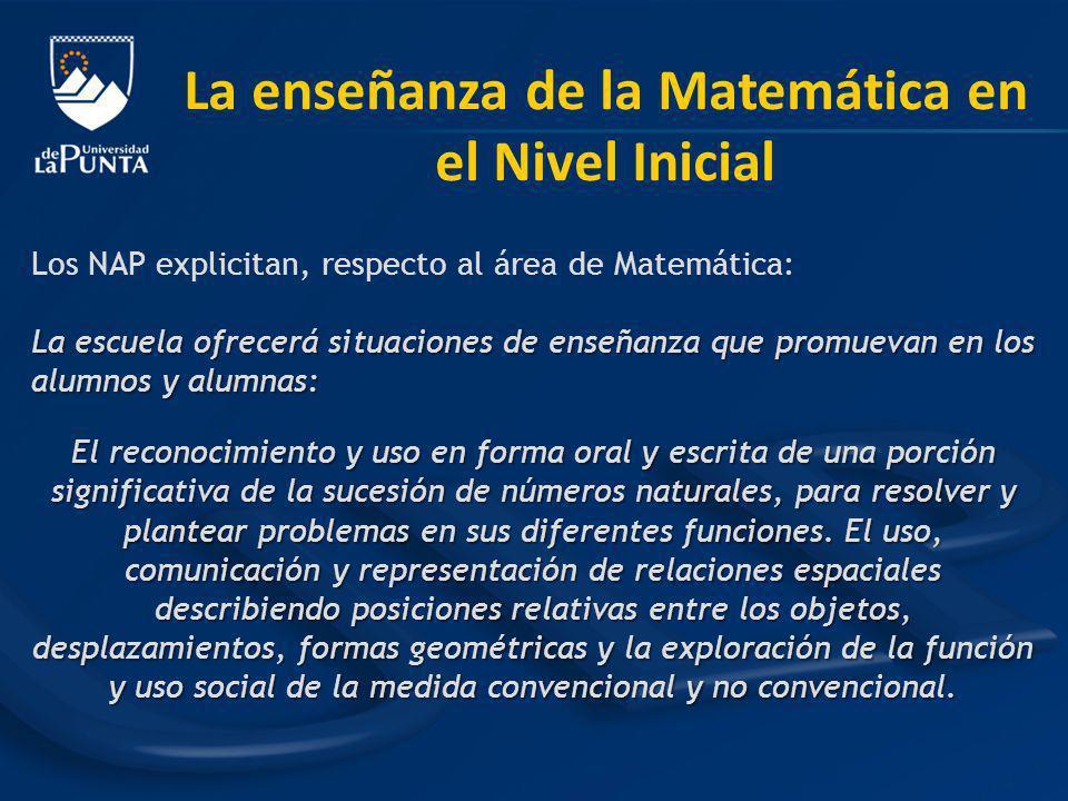 Los NAP explicitan, respecto al área de Matemática: La escuela ofrecerá situaciones de enseñanza que promuevan en los alumnos y alumnas: El reconocimi