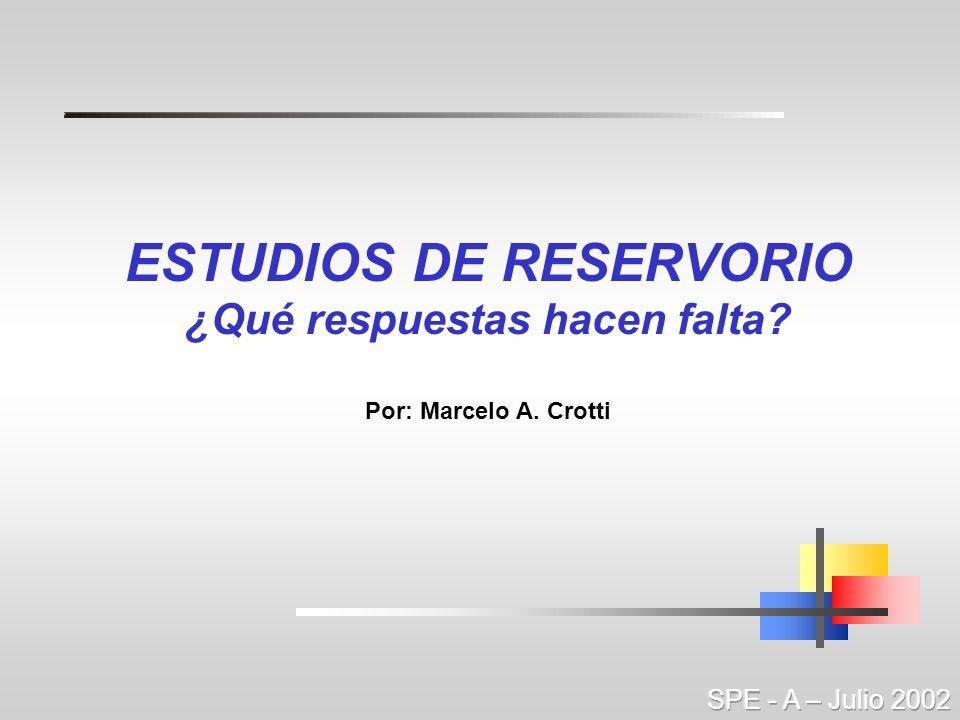 ESTUDIOS DE RESERVORIO ¿Qué respuestas hacen falta? Por: Marcelo A. Crotti