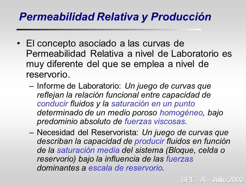 El concepto asociado a las curvas de Permeabilidad Relativa a nivel de Laboratorio es muy diferente del que se emplea a nivel de reservorio. –Informe