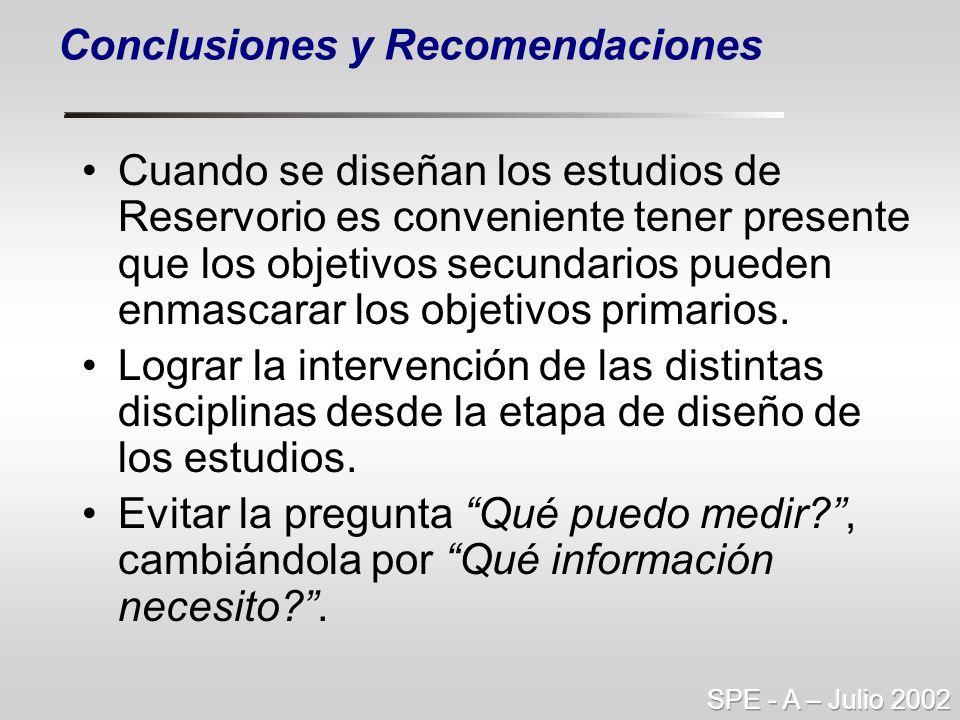 Conclusiones y Recomendaciones Cuando se diseñan los estudios de Reservorio es conveniente tener presente que los objetivos secundarios pueden enmasca