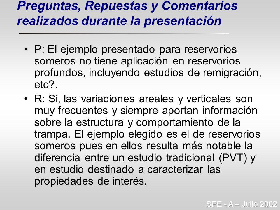 Preguntas, Repuestas y Comentarios realizados durante la presentación P: El ejemplo presentado para reservorios someros no tiene aplicación en reservo