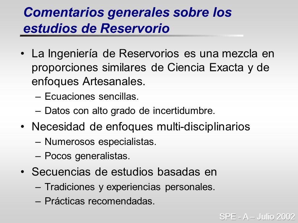 La Ingeniería de Reservorios es una mezcla en proporciones similares de Ciencia Exacta y de enfoques Artesanales. –Ecuaciones sencillas. –Datos con al