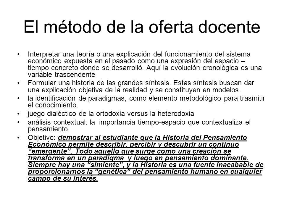 El método de la oferta docente Interpretar una teoría o una explicación del funcionamiento del sistema económico expuesta en el pasado como una expres