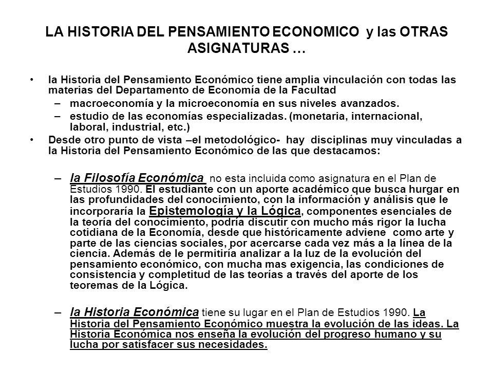 LA HISTORIA DEL PENSAMIENTO ECONOMICO y las OTRAS ASIGNATURAS … la Historia del Pensamiento Económico tiene amplia vinculación con todas las materias