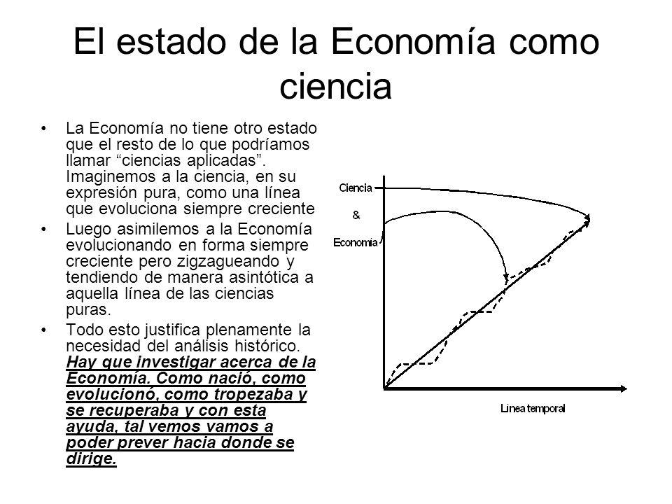 El estado de la Economía como ciencia La Economía no tiene otro estado que el resto de lo que podríamos llamar ciencias aplicadas. Imaginemos a la cie