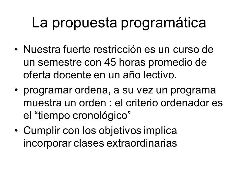 La propuesta programática Nuestra fuerte restricción es un curso de un semestre con 45 horas promedio de oferta docente en un año lectivo. programar o