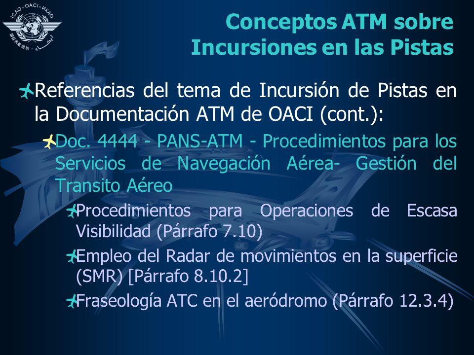 Conceptos ATM sobre Incursiones en las Pistas Referencias del tema de Incursión de Pistas en la Documentación ATM de OACI (cont.): Doc.