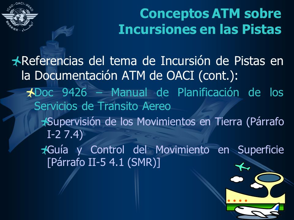 Conceptos ATM sobre Incursiones en las Pistas Referencias del tema de Incursión de Pistas en la Documentación ATM de OACI (cont.): Doc 9426 – Manual de Planificación de los Servicios de Transito Aereo Supervisión de los Movimientos en Tierra (Párrafo I-2 7.4) Guía y Control del Movimiento en Superficie [Párrafo II-5 4.1 (SMR)]